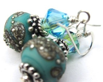Turquoise Earrings, Turquoise Lampwork and Light Turquoise Swarovski Crystal