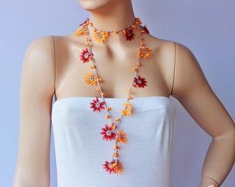 Crochet lariat necklace ,Turkish oya  necklace. crochet flower necklace
