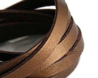 10mm Bronze Flat Leather Cord, Bronze Leather Flat Lace, Metallic Bronze Leather Cord 8inch / 20cm  S 40 099