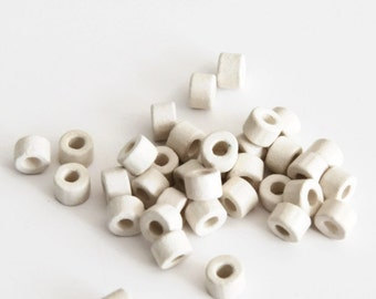 Bone White Ceramic Beads, White Ceramic Tubes, 4x6mm C 10 213