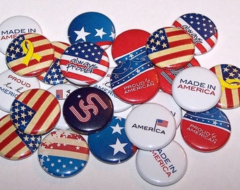 """Patriotic USA 4th of July Set of 10 Buttons 1"""" Pins or Magnets American Red White Blue"""