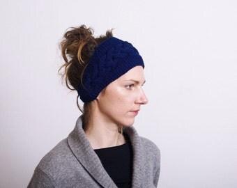 Knit Headband Knit Cable Headband Knitted Headband Ear Warmer,  Button Closure, Hair Band, Navy blue, Knit