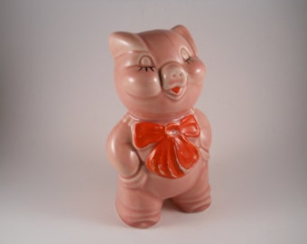 Antique Pink Piggy Bank with Red Bow Around her neck