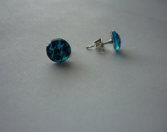 Blue Houndstooth earrings