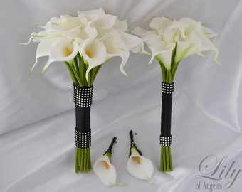 "Bride/MoH Bouquets Groom/Best man Boutonnieres Wedding Bridal Bouquet Real Touch Calla Lily White - More Colors ""Lily of Angeles"" CAIV01"