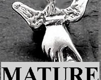 Mature Hand Job Winged Penis Pendant  Solid Sterling Silver Free Domestic Shipping