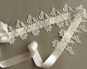 Embellished Bridal Sash Belt, Ecru Cream, White Lace Satin Ribbon Wedding Dress Belt. Handmade.