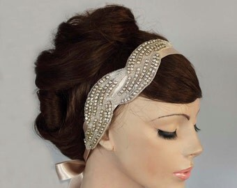 Rhinestone Accented Powder Ecru Satin Ribbon Bridal Headband, Wedding Head Piece,