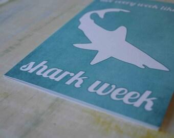 Shark Week Typography Greeting Card - Funny Friend Card Birthday Aqua Blue Beach Inspired