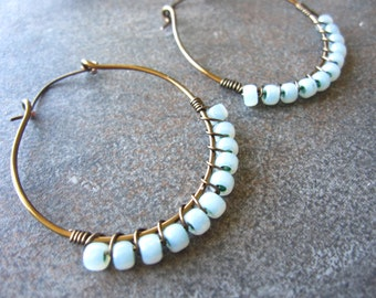 Sky Blue Beaded Wire Wrapped Earrings Antiqued Bronze Handcrafted Hammered Hoops