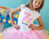 Pink lemonade Birthday Shirt--ANY age or number--Name included-- Embroidered shirt or Bodysuit
