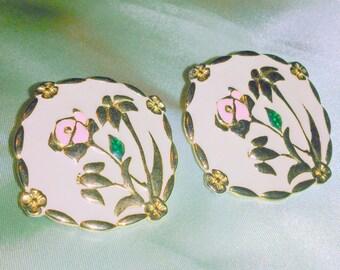 Vintage Pink Floral Enamel Earrings