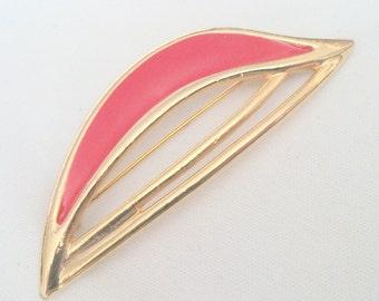 Vintage Red Enamel Freeform Brooch