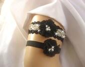 Black Rhinestone Wedding Garter /  Rhinestone Garter / Crystal Garter / Toss Garter / Garter Belt / Garder