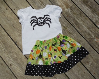 Girl's Toddlers Skirt and Shirt Halloween Outfit - Halloween Skirt with Cute Spider Applique Shirt