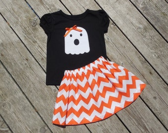 Girl's Toddlers Skirt and Shirt Personalized Halloween Outfit - Orange Chevron Skirt with Ghost Applique Shirt