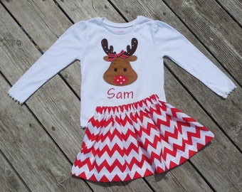 Girl's Toddlers Skirt and Shirt Christmas Outfit - Red Chevron Skirt with Reindeer Applique Shirt