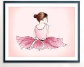 Ballerina Brown Art Printable - Instant Download