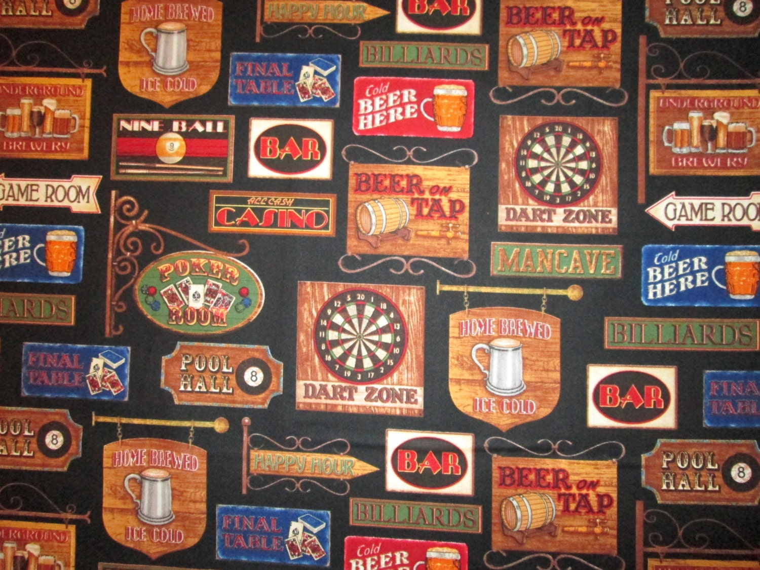 Man Cave Uncut : Beer game room signs man cave black cotton fabric fat