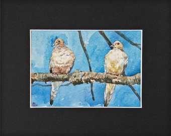 Water color painting of mourning doves