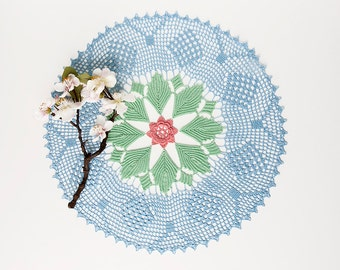 Crochet doily, tabletop decor, lace centerpiece, mothers day, home decor, blue, green, rose, heirloom quality, cottage chic, shabby chic