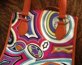 Vintage Emilio Pucci Leather Psychedelic Orange Handbag