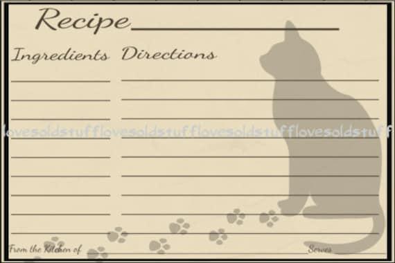 cat printable recipe card 3x5 blank recipe cards 4x6 recipe card template pet party. Black Bedroom Furniture Sets. Home Design Ideas