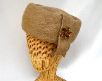 Vintage Ladies Hat Tan Rabbit Fur Toque Rhinestones