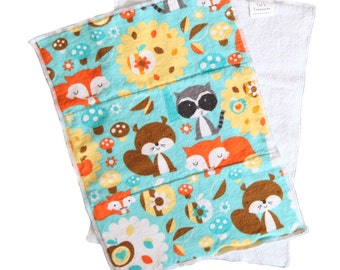 Forest Friends Flannel and Terrycloth Burp Rags, Ready To Ship