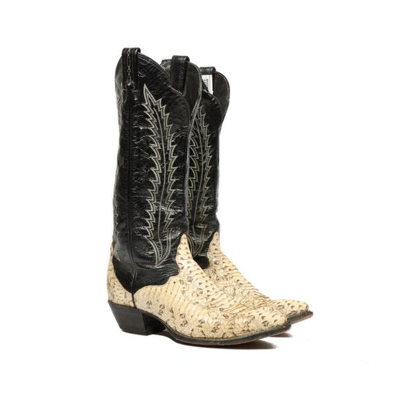 Vintage Women S Tony Lama Tall Cowboy Boots Yellow