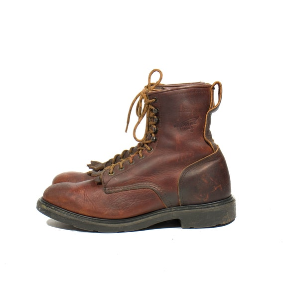 Vintage Red Wing Boots Roper Styled Men's Lace Up Ankle