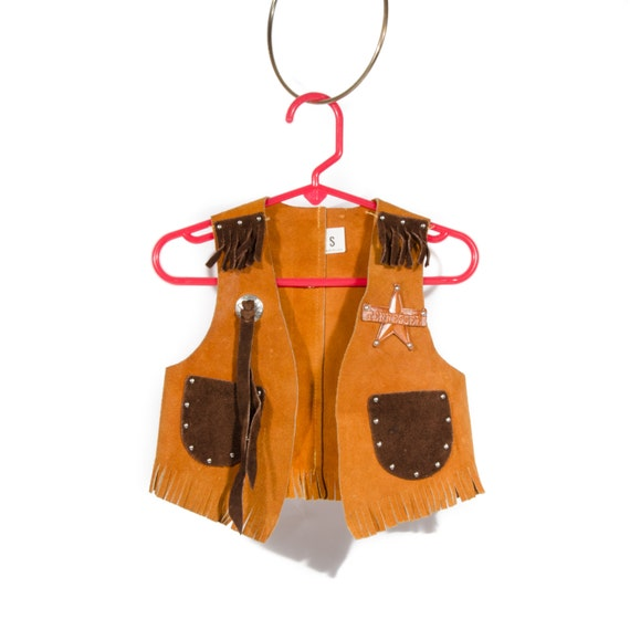 Vest sheriff badge vest brown leather tassel fringe halloween costume