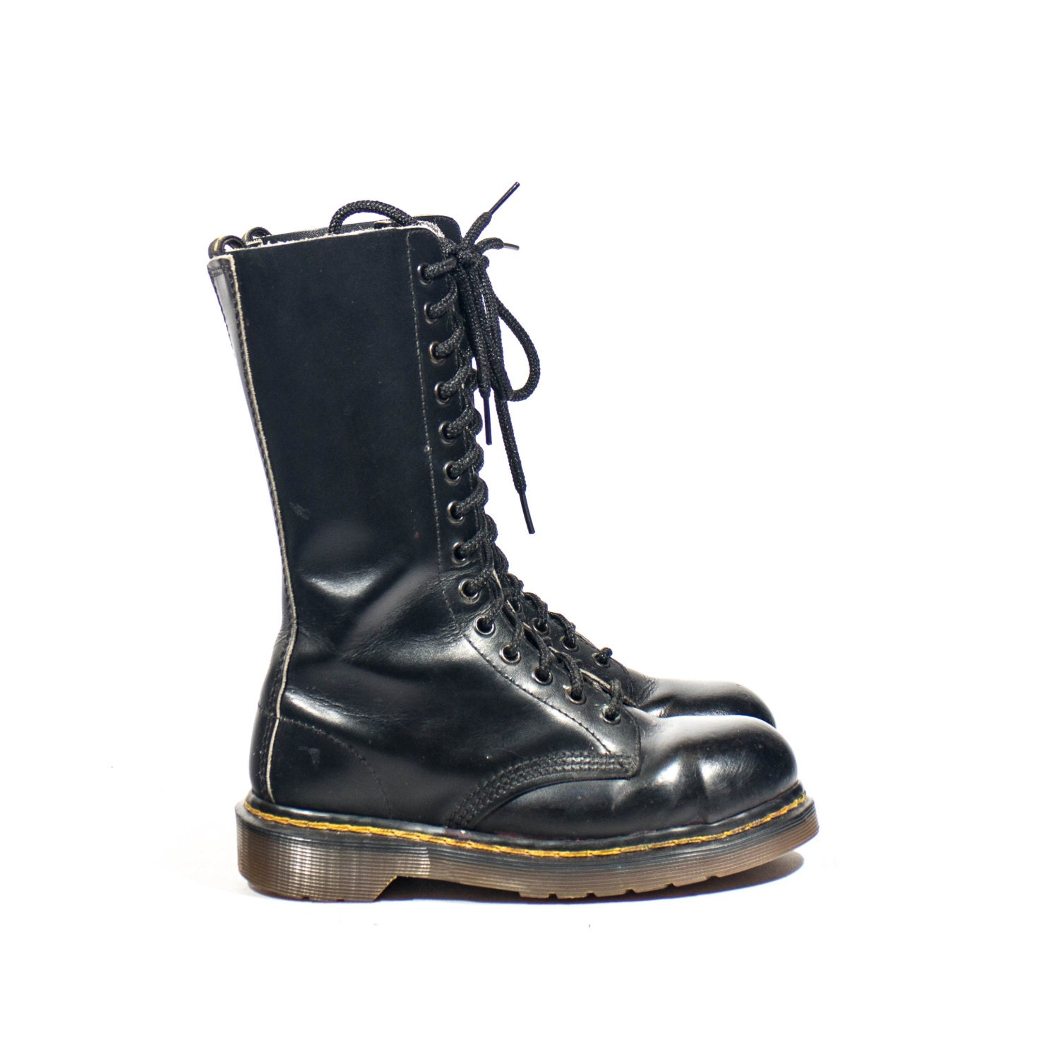 14 eye steel toe doc martens black romper by