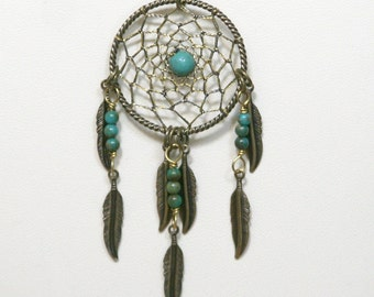 Dream Catcher Turquoise & Antiqued Brass Dreamcatcher Necklace with Feathers