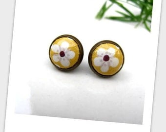 Mustard Paper Studs Earrings