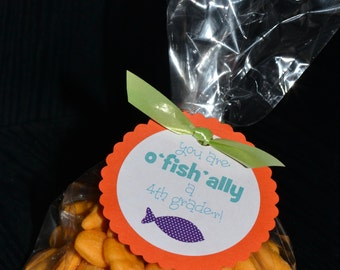 """Back to School Tags - """"You are o'FISH'ally a 4th grader"""""""