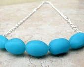 Blue Opal Seaglass Necklace:  Chunky Curved Beaded Bar Fine Silver Wire Wrapped Ocean Blue Beach Jewelry