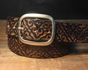 Leather belt - Damask Vintage Aged Leather belt - embossed damask snap belt  Handmade in USA