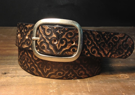 Leather belt - Damask Vintage Aged Leather belt - embossed damask snap belt  Handmade in USA