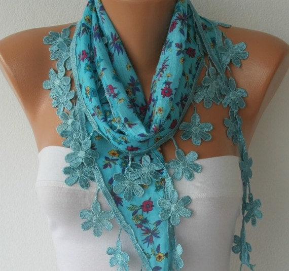 ON SALE - Blue Floral Scarf Multicolor  Scarf -  Cotton Scarf  Cowl with  Lace Edge