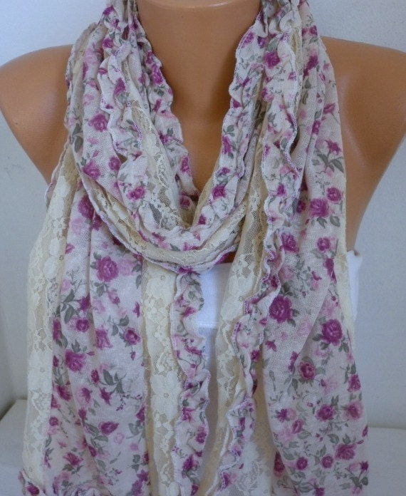 ON SALE  - Floral  Scarf  Shawl Spring Summer Scarf Women  Scarf -  Cowl Scarf Bridesmaid Gifts For Her  Women's Fashion Accesories