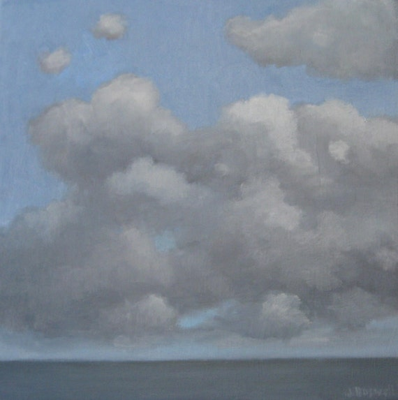 Jennifer Boswell Original Modern Impressionist Art Abstract White  Blue Gray Clouds Sea Oil Painting 12x12 Canvas