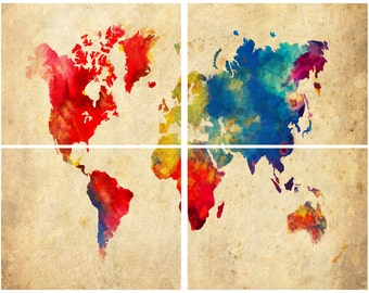 "World Map Watercolor Abstract Grunge - 4 Panel - 11"" x 14"" Prints Print Poster"