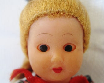 Vintage Celluloid Doll - Mohair Wig - Articulated Arms 1930's