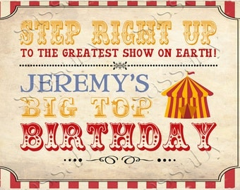 Vintage Circus Party Sign - INSTANT DOWNLOAD - Editable & Printable Birthday Decorations by Sassaby