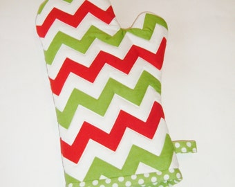 Oven Mitt - Red and Green Chevron - Christmas Oven Mitt