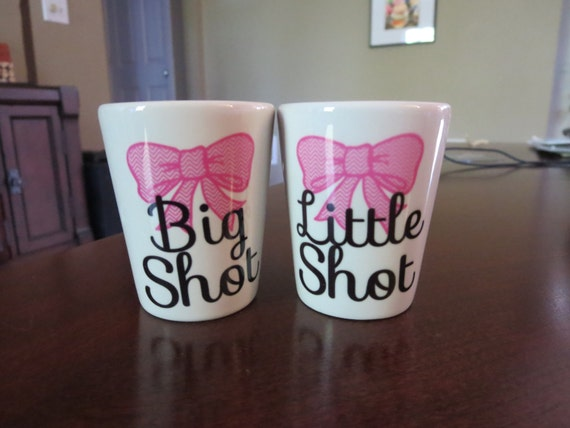 items similar to big shot little shot set of two white shot glasses with bow design great gift. Black Bedroom Furniture Sets. Home Design Ideas