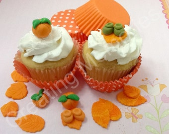 24 Mix Fondant Autumn Cupcakes Toppers. Orange, Green leaves made of creamy vanilla fondant the perfect decorartion for your cupcakes