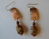 Handcrafted Dragonfly Copper Earrings with Natural Wire Wrapped Picasso Jasper Stones