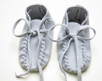 Toddler Baby Moccasins, Buckskin Leather Slippers, Blue Gray Suede Booties,  sizes preemie - 18 months